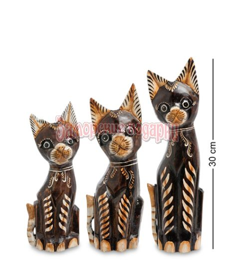 """99-246 Фигурка """"Кошка"""" н-р из трех 30,25,20 см (албезия, о.Бали)"""