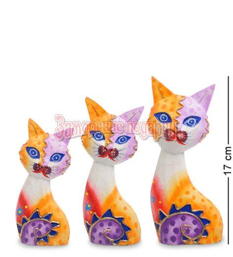 """99-255 Фигурка """"Кошка"""" н-р из трех 17,15,12 см (албезия, о.Бали)"""