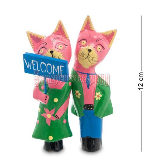 28-017 Статуэтки mini КОТ и КОШКА Welcome, цвет-розовый, набор 2 шт.