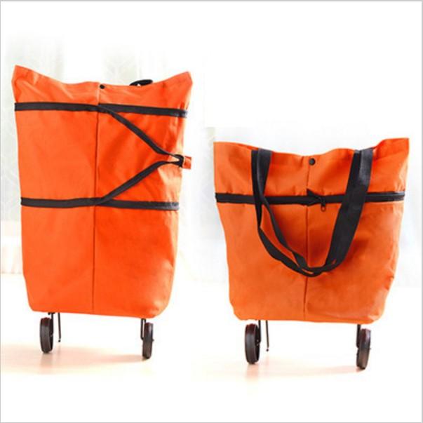 Складная сумка на колесиках, цвет Оранжевый