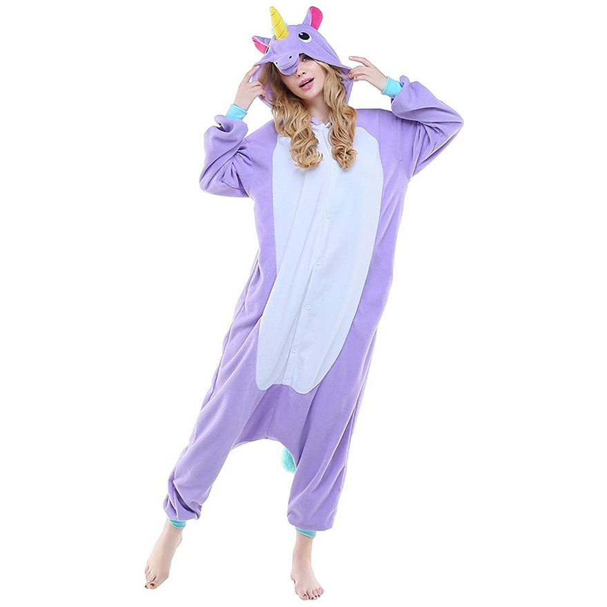 Пижама Кигуруми Единорог Радужный Фиолетовый Премиум