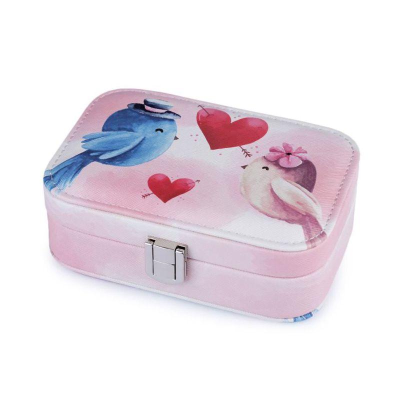 Шкатулка для украшений Птички 15х11х5 см (цвет розовый)