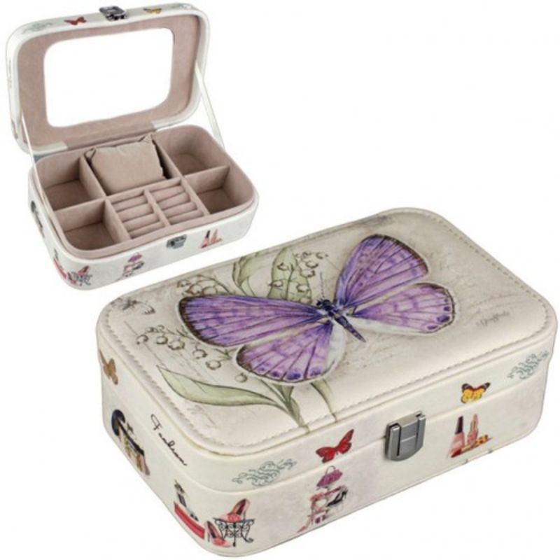 Шкатулка для украшений Бабочка 15х11х5 см (цвет фиолетовый)
