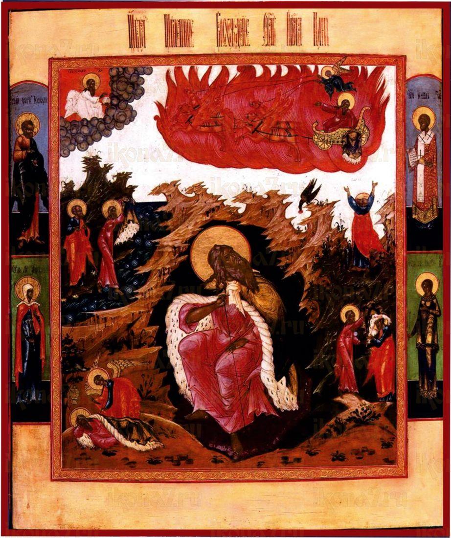 Икона Илия пророк со сценами жития и Огненным восхождением (19 век)