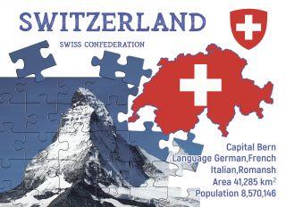 Postcard Step to Switzerland