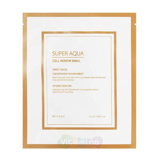 Missha Регенерирующая улиточная гидрогелевая маска для лица Super Aqua Cell Renew Snail Hydro-Gel Mask, 28 г