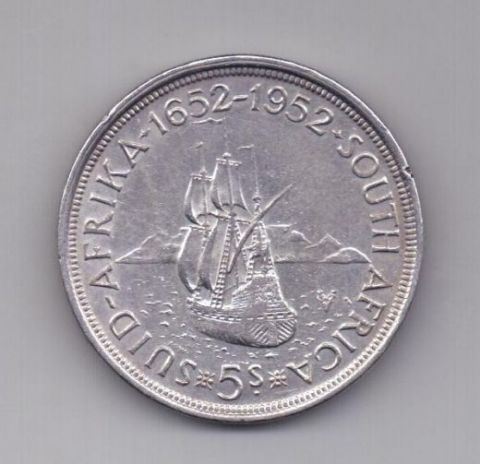 5 шиллингов 1952 года AUNC ЮАР Великобритания