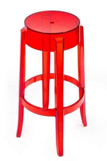 Барный стул Charles Ghost красный