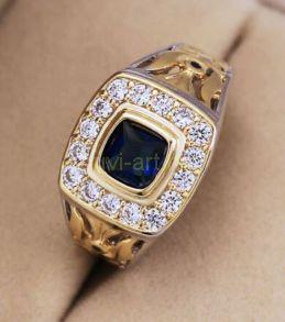 Позолоченный перстень с искусственным сапфиром (арт. 900611)
