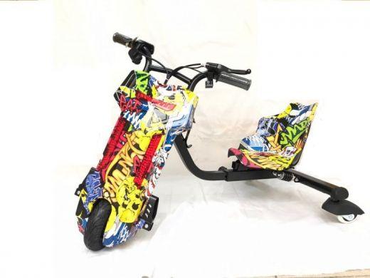 Электроскутер Дрифт Карт Drift-Trike Желтый граффити