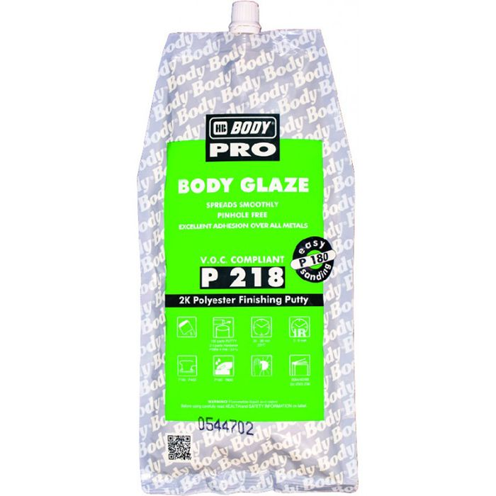"HB Body Шпатлевка PRO P218 GLAZE финишная, название цвета ""Серый"", объем 600мл."
