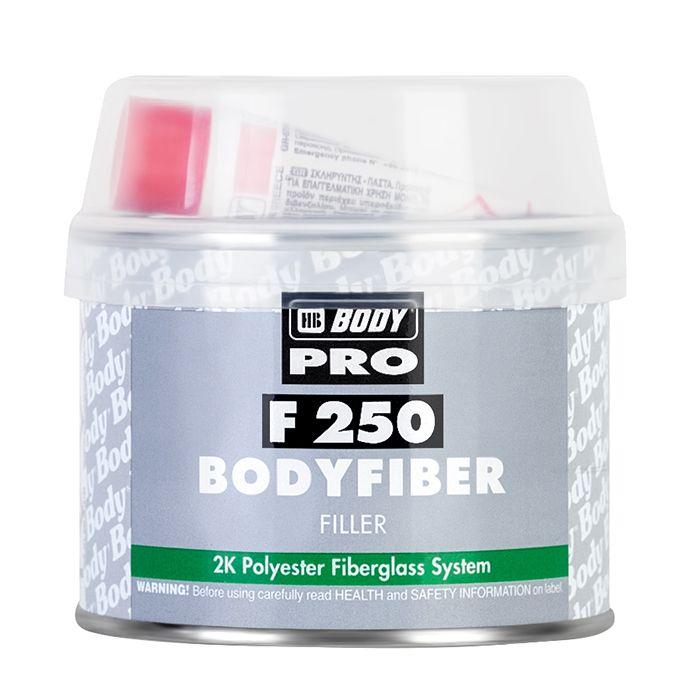 """HB Body Шпатлевка со стекловолокном PRO F250 FIBER, название цвета """"Зеленый"""", объем 250гр."""