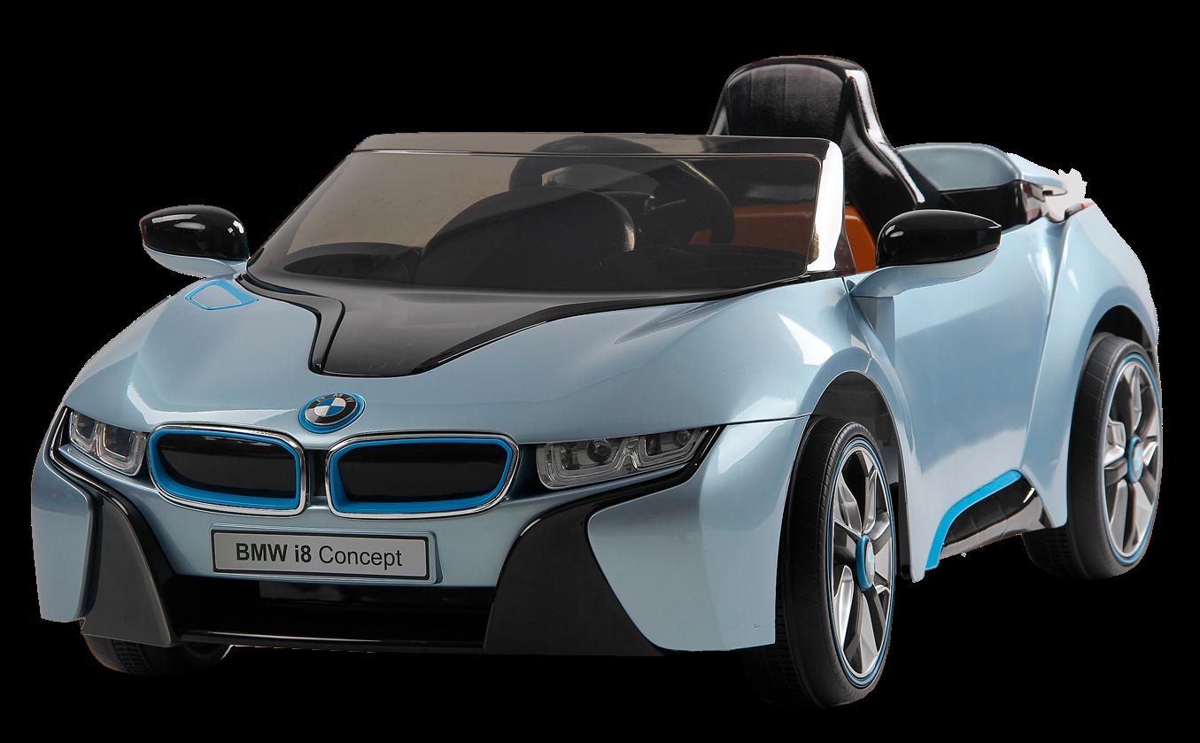 Электромобиль JЕ168 BMW i8 (лицензия, 12V, металлик, экокожа) синий