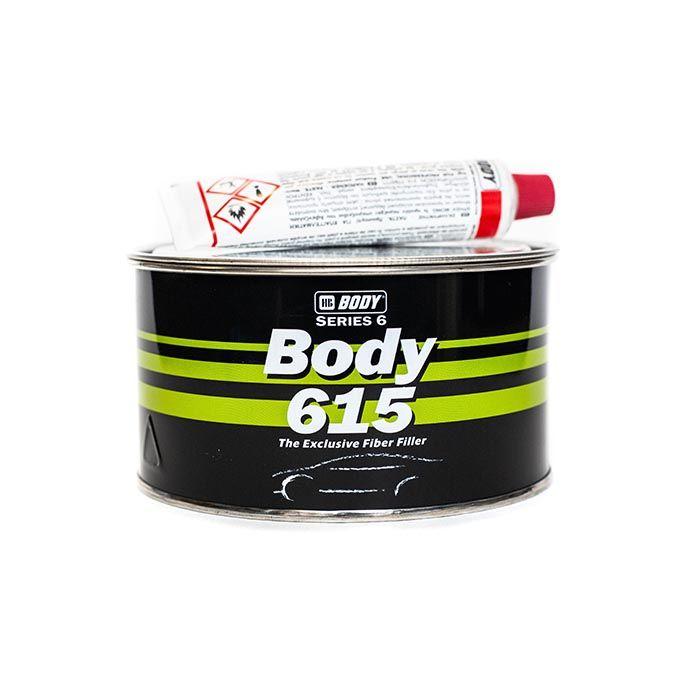 """HB Body Шпатлевка со стекловолокном BODY 615 FIBER, название цвета """"Зеленый"""", объем 900гр."""