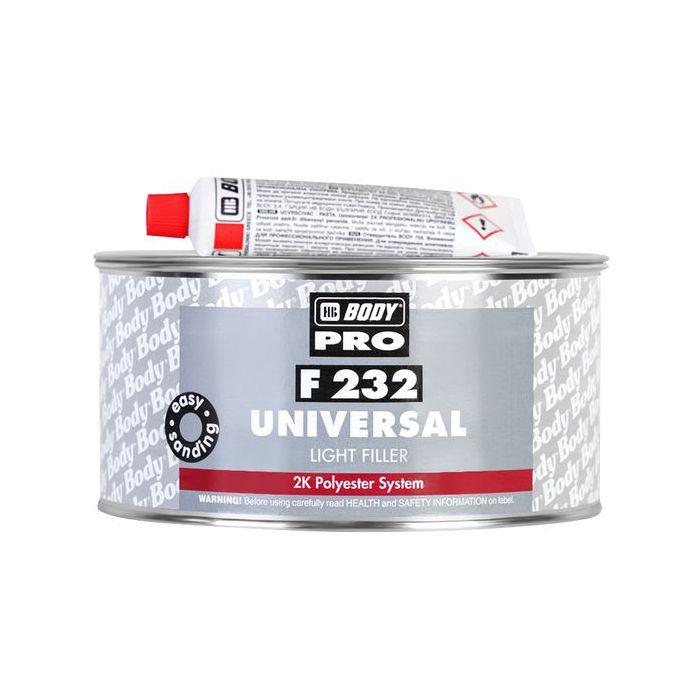 "HB Body Шпатлевка PRO F232 UNIVERSAL LIGHT POLYESTER FILLER универсальная, название цвета ""Белый"", объем 1л."