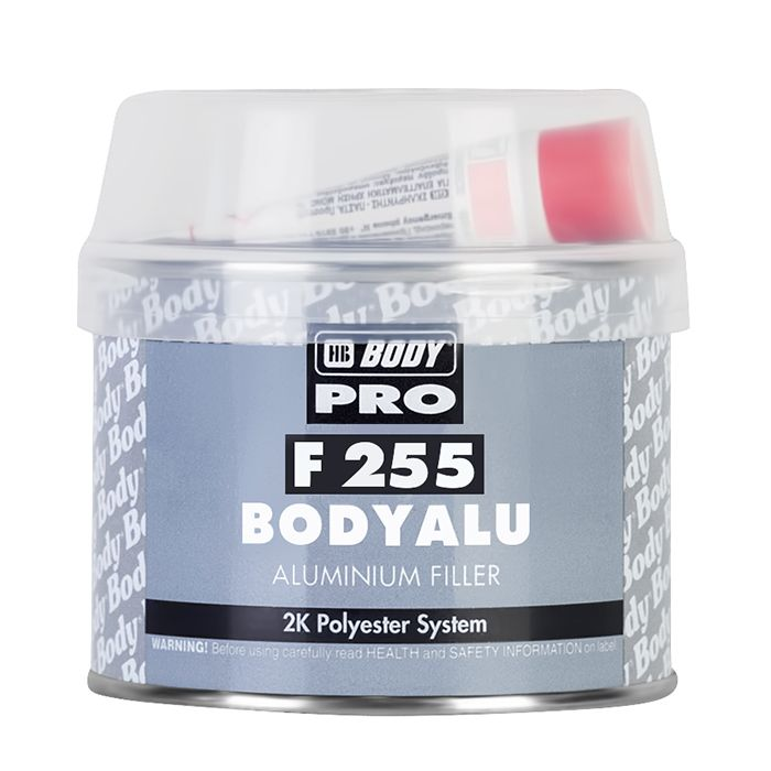 "HB Body Шпатлевка PRO F255 ALU с алюминиевым наполнителем, название цвета ""Серый"", объем 1кг."
