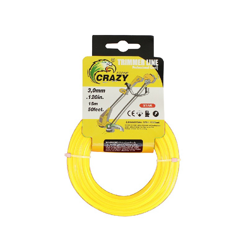Леска для триммера Crazy Stone диаметр 3 мм (цвет жёлтый)