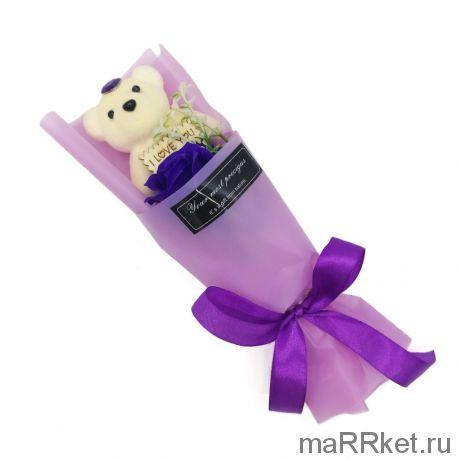 Мыльная роза с мишкой в упаковке (фиолетовый)