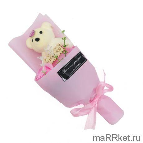 Мыльная роза с мишкой в упаковке (розовый)