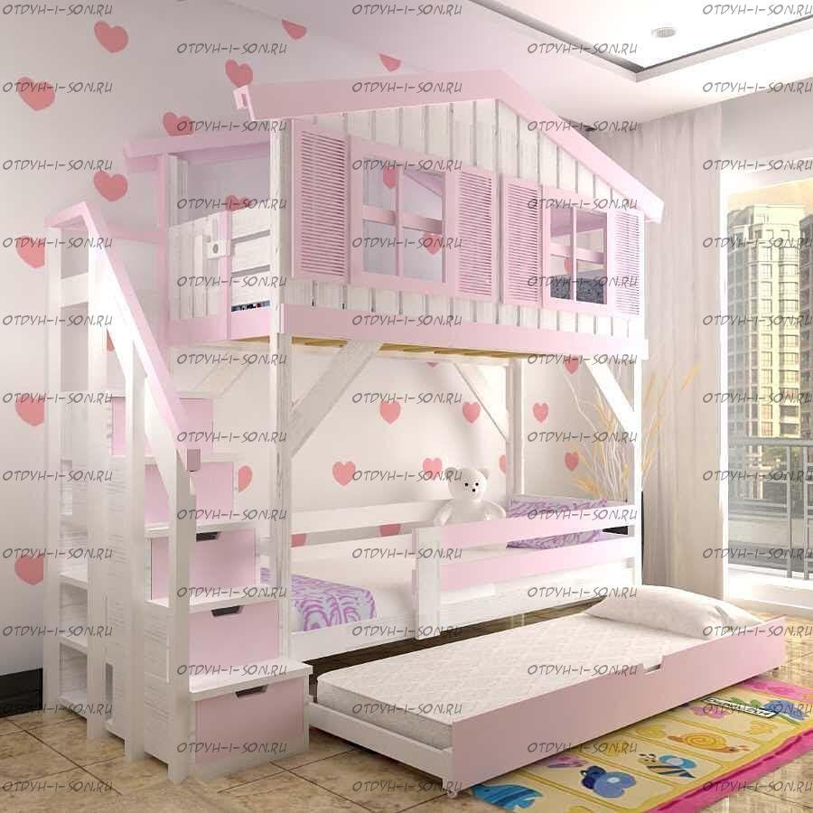 Кровать трехъярусная, Кровать-домик Roof №22+