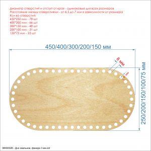 Основание для корзины ''Донышко овальное'' , фанера 3 мм (1уп = 5шт)