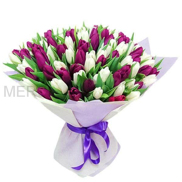 51 тюльпан в упаковке