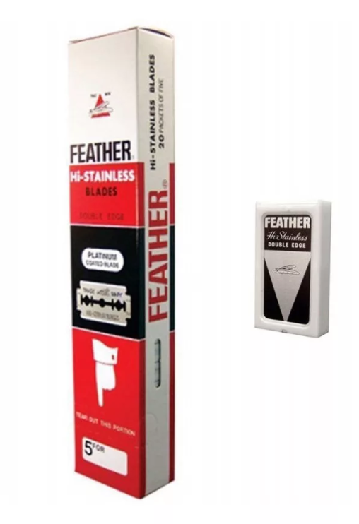 Feather Hi-Stainless платиновое покрытие, 20х5 двусторонних лезвий