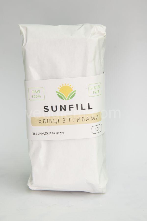 Сыроедческие сухарики с Грибами Sunfill, 100 грамм