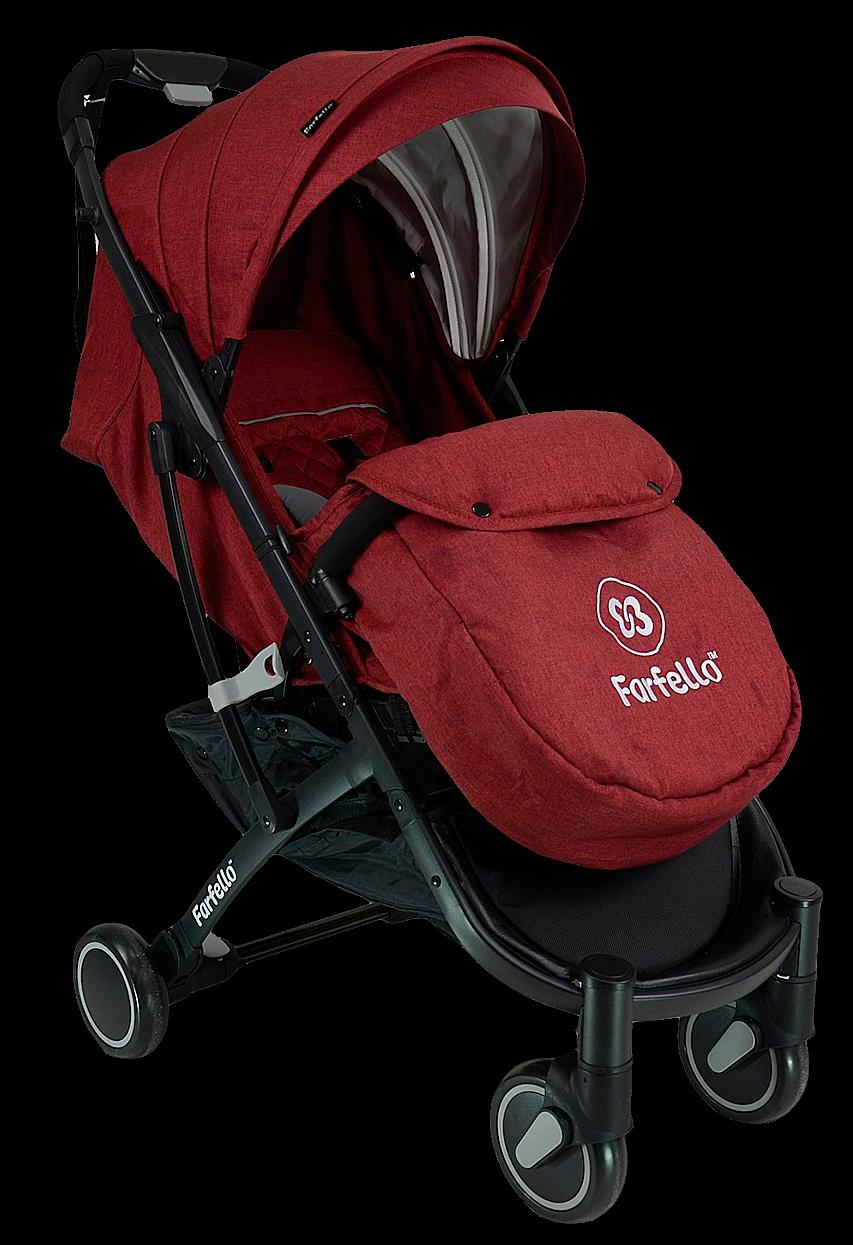Коляска детская прогулочная Farfello D100 красный/чёрная рама