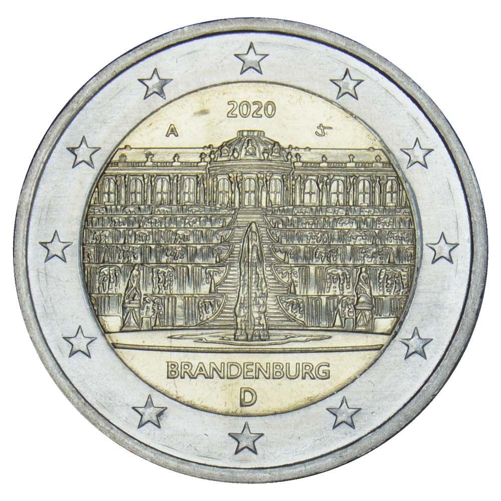 2 евро 2020 Германия Бранденбург (дворец Сан-Суси в Потсдаме) A