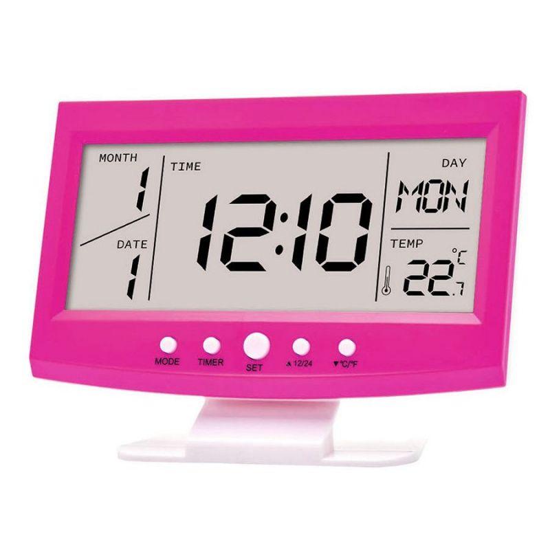 Многофункциональные настольные часы KD-1819 (цвет розовый)