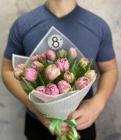 19 розовых пионовидных тюльпанов Амазин