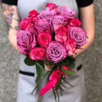15 розово-сиреневых роз 60 см