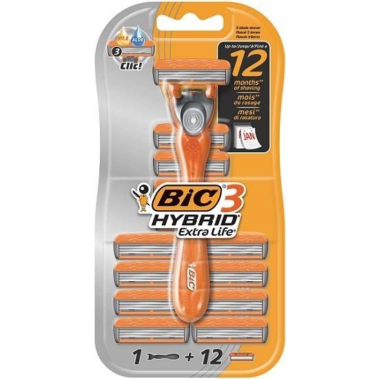 Bic 3 Hybrid сменные кассеты (12 шт) + бритва, промо-набор