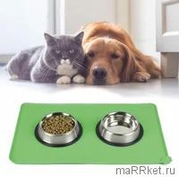 Противоскользящий коврик под миску Pet Supplies (зеленый)