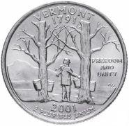 ХАЛЯВА!!! 25 центов США 2001г - ВЕРМОНТ, VF- Серия Штаты и территории
