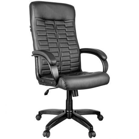 """Кресло руководителя Helmi HL-E80 """"Ornament"""", экокожа черная, мягкий подлокотник"""