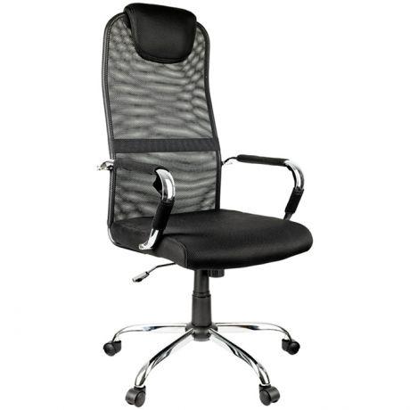 """Кресло руководителя Helmi HL-E25 """"Intelligent"""", ткань/сетка черная, подголовник хром"""