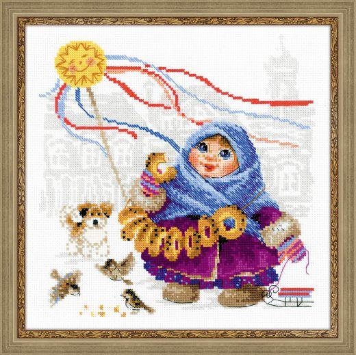 Набор для вышивания крестом Масленица. Бублики №1517 фирма Риолис