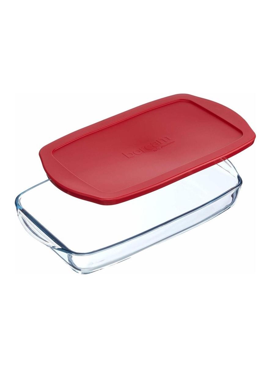 Форма для выпечки жаропрочная стеклянная прямоугольная с крышкой 1,95 литра Borcam 59006 лоток прямоугольный 33,6х19х5 см коробка