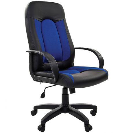 Кресло руководителя Chairman 429, экокожа черная/ткань синяя, механизм качания