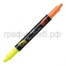 Маркер текст.Pentel Twin Checker двухцветный желтый-оранжевый SLW8-GF