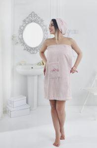 """Набор для сауны """"KARNA"""" женский махровый PERA 1/2 Розовый"""