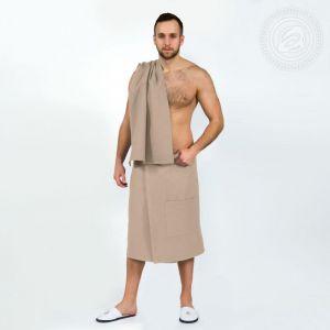 Набор для бани и сауны мужской (килт+полотенце) бежевый размер Универсальный на резинке
