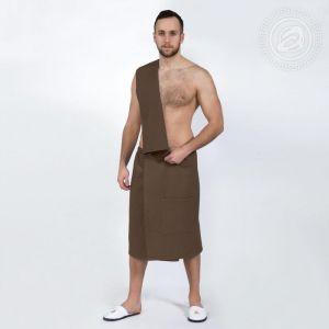 Набор для бани и сауны мужской (килт+полотенце) коричневый размер Универсальный на резинке