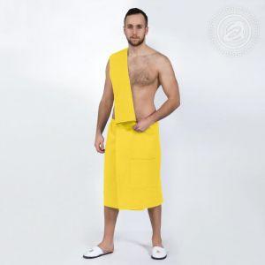 Набор для бани и сауны мужской (килт+полотенце) желтый размер Универсальный на резинке
