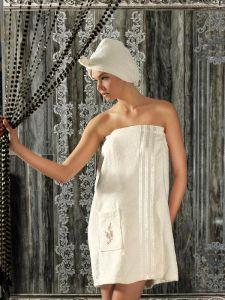 """Сауна женская """"PHILIPPUS"""" махра + тапочки арт: 5305-кремовый размер Универсальный на резинке"""