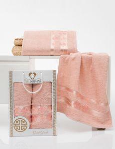 8801 Пудра  GOLD GREEK  (50х90+70х140 ) Набор полотенец в коробке TWO DOLPHINS