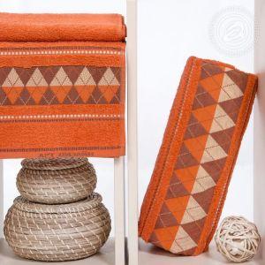"""Набор полотенец махровых """"Геометрия"""" оранжевый размер Набор из 2 штук"""