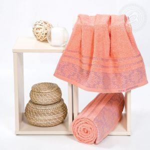 """Набор полотенец махровых """"Орнамент"""" персик размер Набор из 2 штук"""